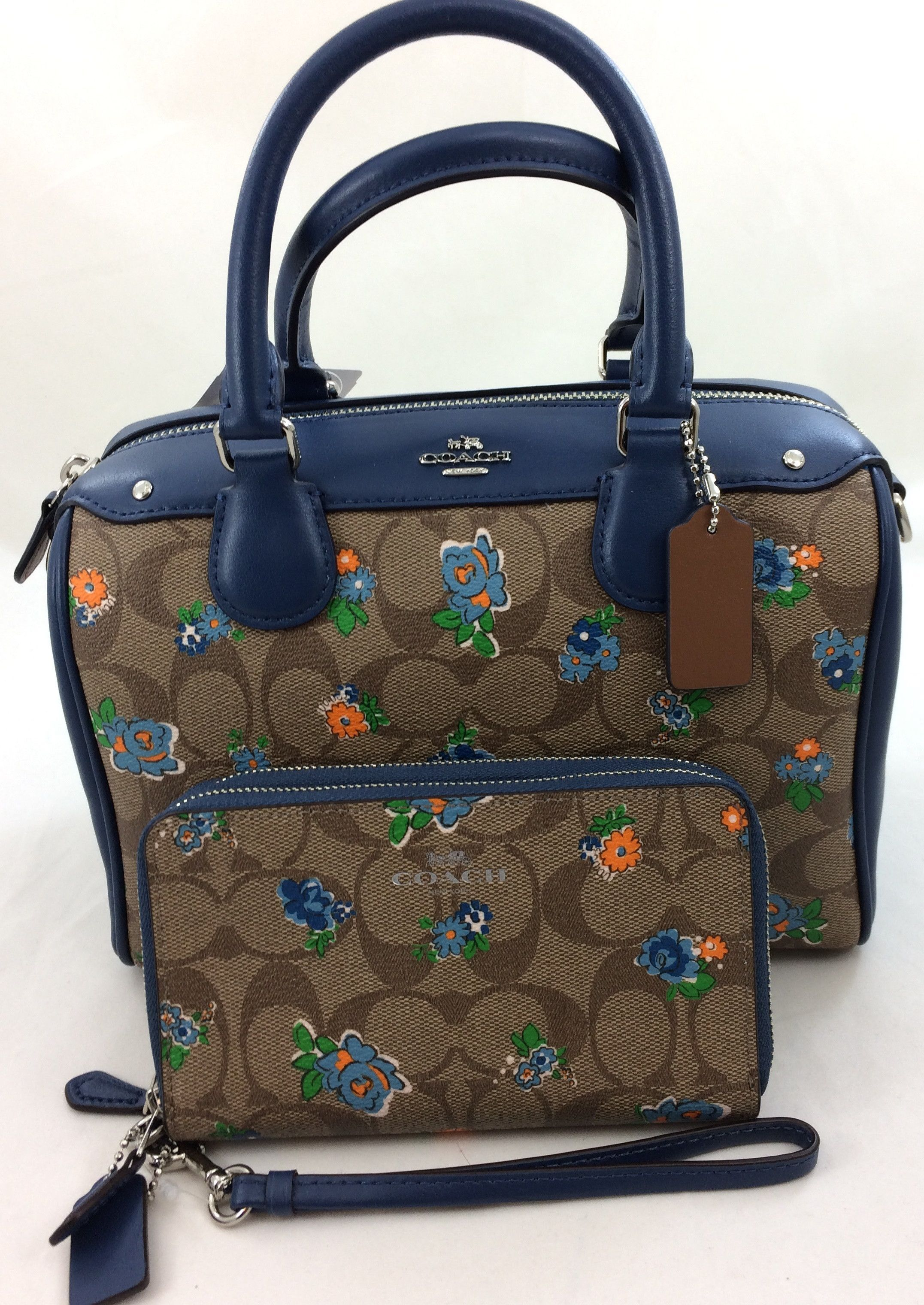 f19454b85735 New Authentic Coach F57534 Mini Bennett Satchel Shoulder Bag Floral Logo  Print in Blue Multi+Wallet Set