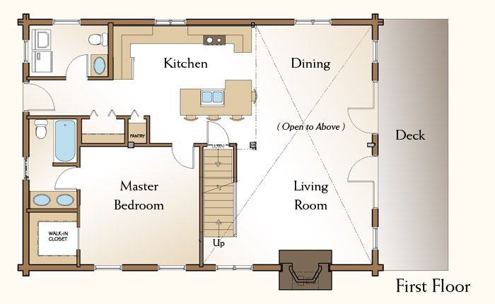 28x40 floor plans the piedmont log home first floor plan for Log cabin floor plans with 2 bedrooms and loft