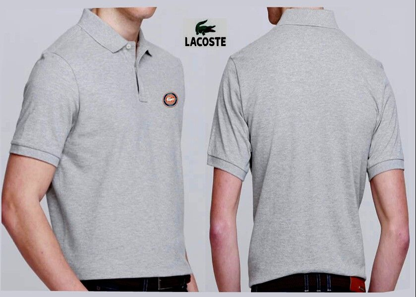 Lacoste man short sleeves polo badge logo grey