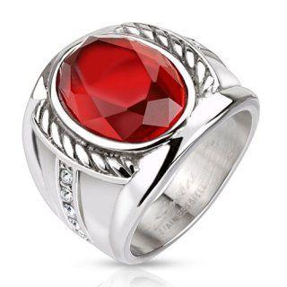 Bague homme en acier avec pierre rouge et cordages sculptés   Rings ... 7e9bcc87438e