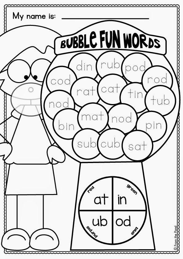 Gumball cvc Words Reading/Writing Cvc word families