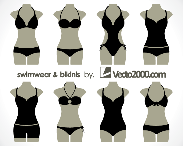 illustration of swimwear and bikinis free vector templates in 2018