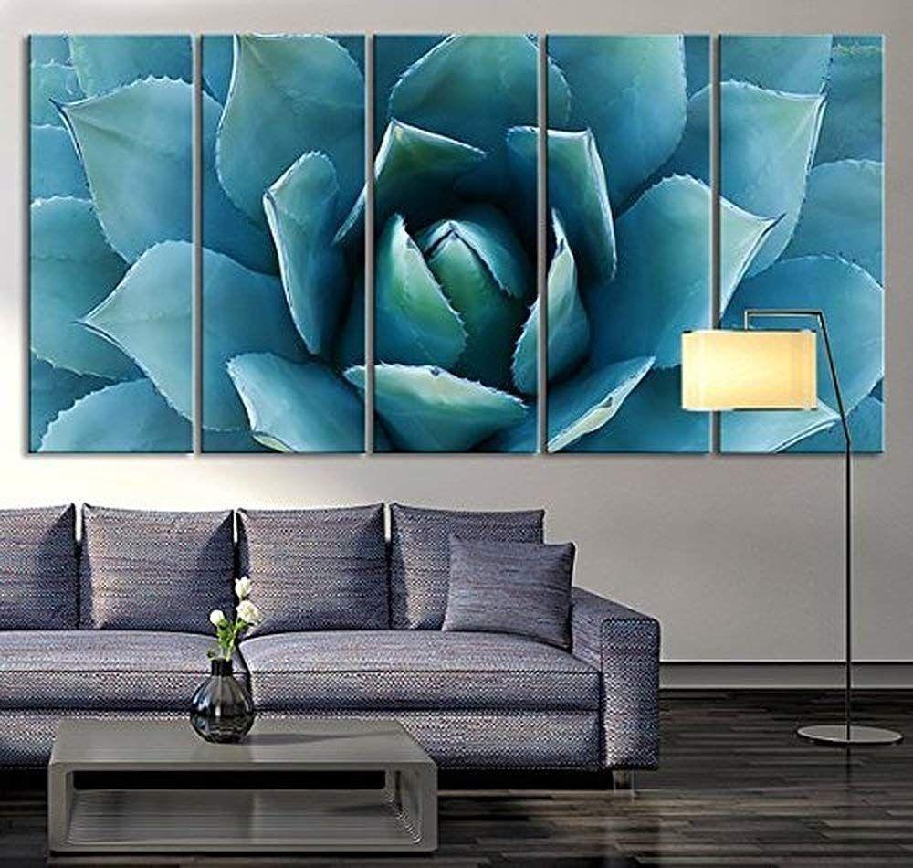 Amazon Com Ezon Ch Large Wall Art Blue Agave Canvas Prints Agave Flower Large Art Canvas Printing Extr Large Canvas Wall Art Canvas Art Prints Canvas Wall Art