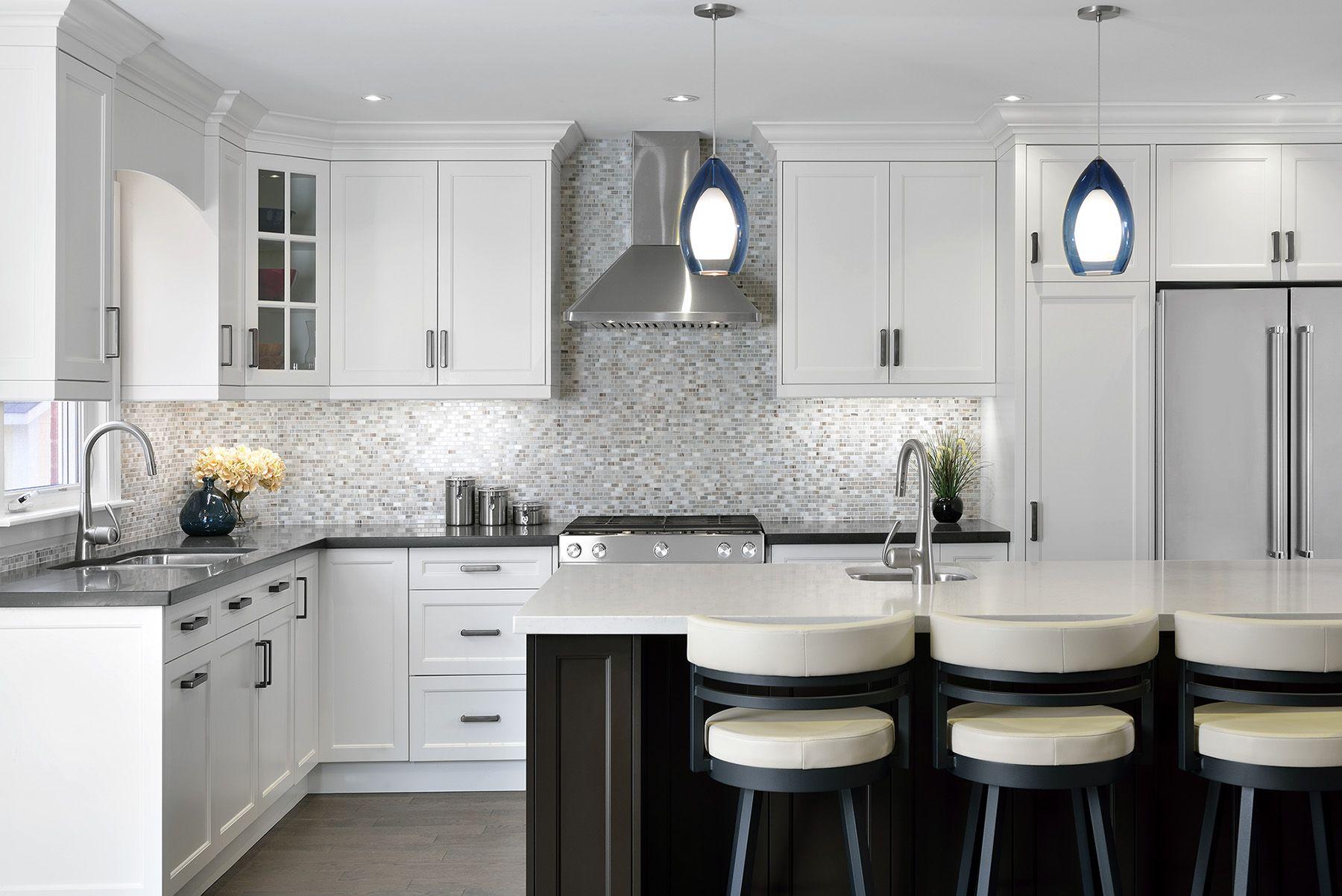 White and grey kitchen renovation with Caesarstone Piatra Grey ...