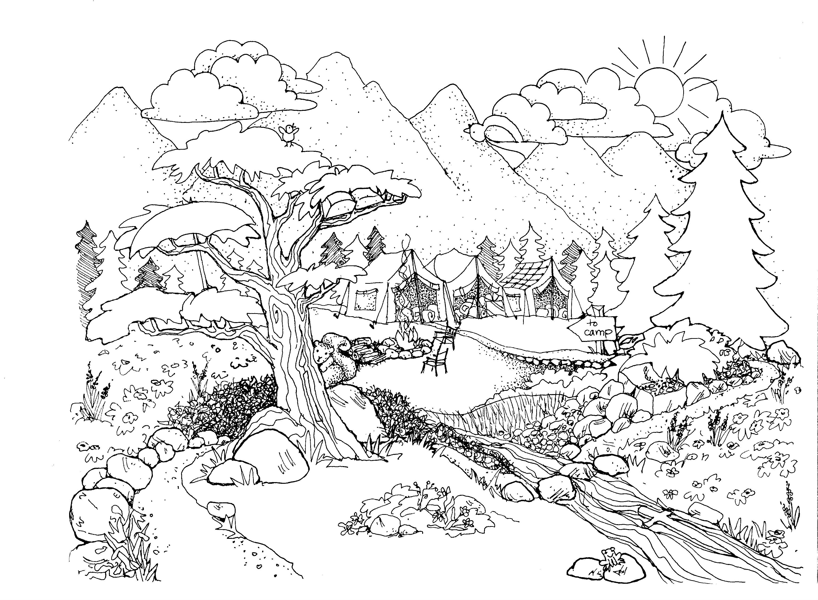 Environment Amazing Coloring Pages Nature Printable Adult