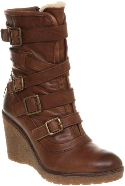 647e1982e2f Office Knox Strappy Wedge Boot Tan Leather in Brown (tan) - Lyst