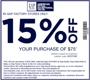picture relating to Gap Factory Printable Coupon referred to as Receive 15% Off Orders Earlier mentioned $75 at Hole Outlet with this within-retail outlet