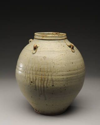 Artist: Warren MacKenzie, Title: Rounded Grey Vase with Handles and Drips - click on image to enlarge