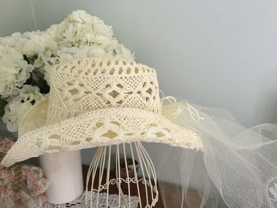 7f29d1675f4 Rustic Cowgirl Bachelorettes hat   veil by HomeCentral on Etsy ...