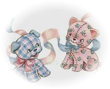 ~Vintage Baby Blue Pink Stuffed Calico Animal Puppy Dog Kitten Cat Decals~ AN509