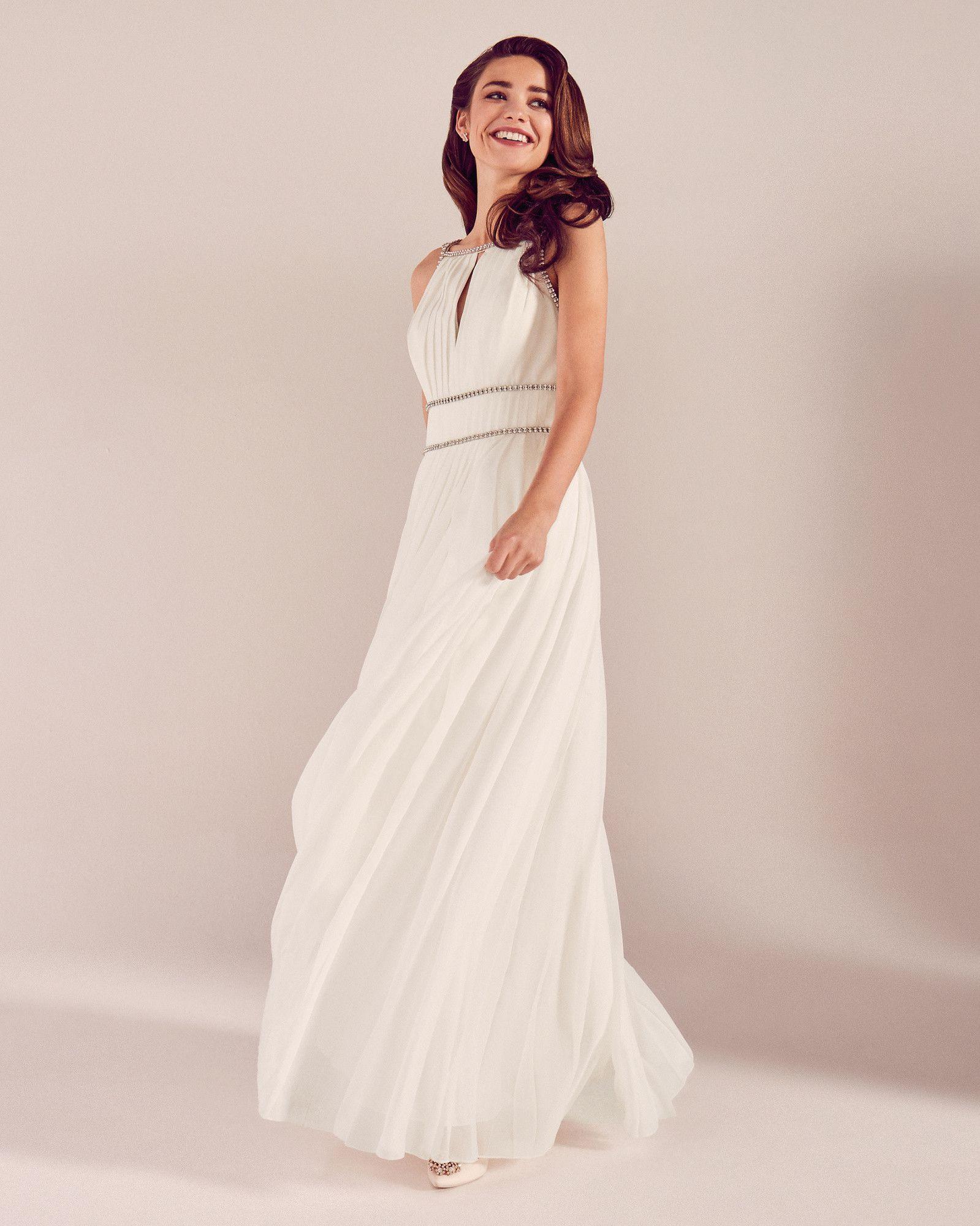 Plissiertes Brautkleid mit Zierborte - Weiß  FS19 Tie The Knot