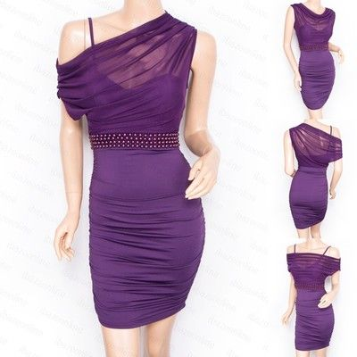 Bodycon Evening Party Pencil Sheath Dress Purple