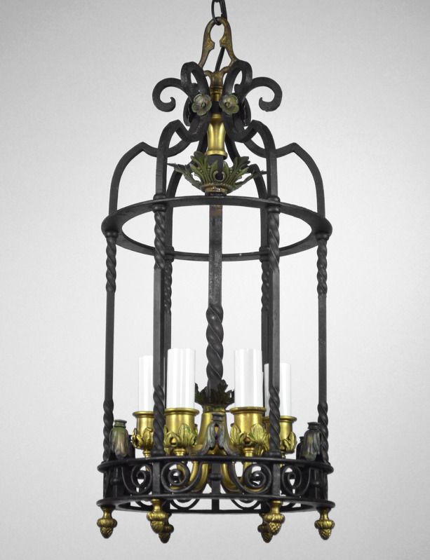 Carlson Galleries : Antique Lantern Chandelier Light Vintage Cast Iron  Black Bronze Gold Empire $1,199.00 - Carlson Galleries : Antique Lantern Chandelier Light Vintage Cast