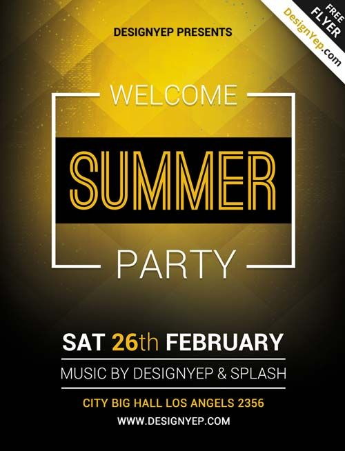 Summer Welcome Party Free Psd Flyer Template Graphics Pinterest