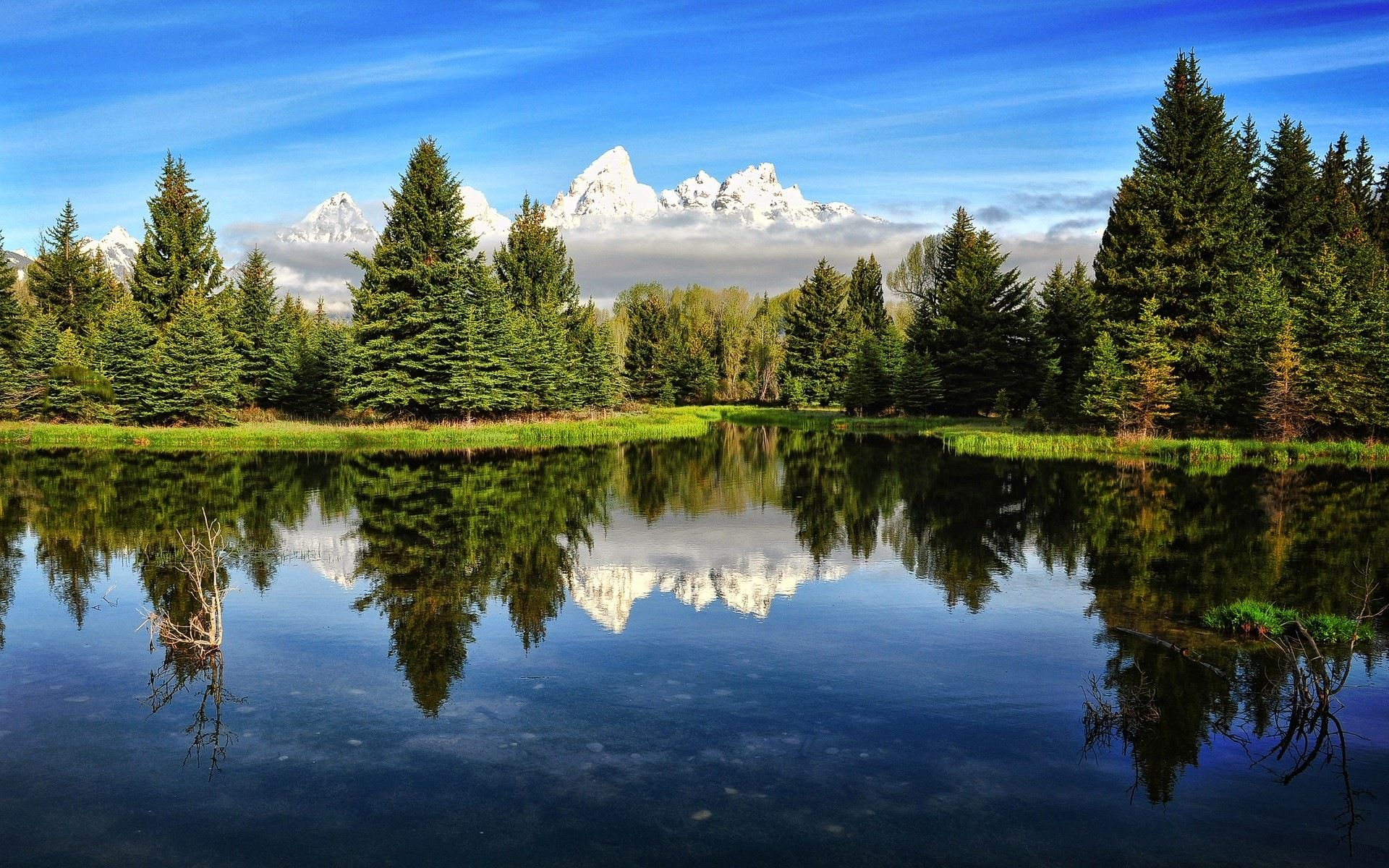 Mountains Water Clouds Natural Beauty Landscape Hd Wallpapers 1