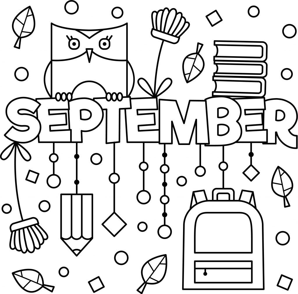 September Colouring Page Printable With Images