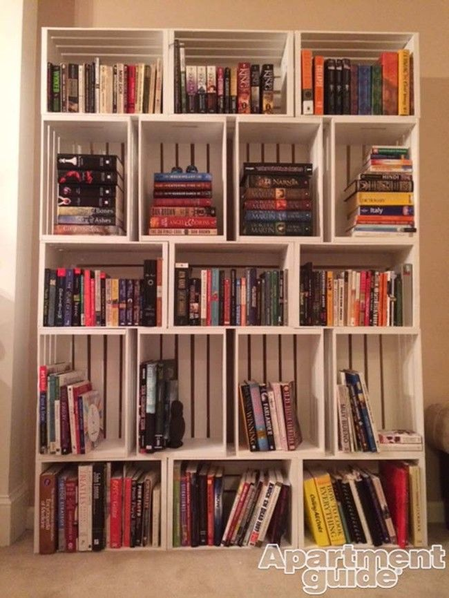 Cute Bookshelf love to read? stacked, painted crates make cute library-like
