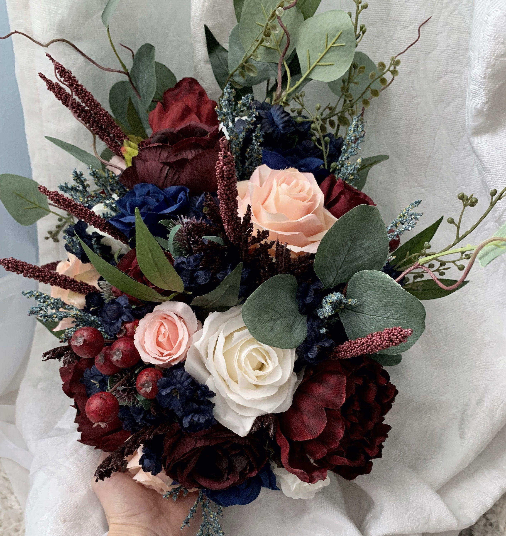 Cascading Wedding Bouquet Burgundy Navy Blue Red Peony