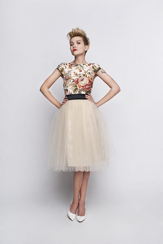 Standesamt Kleid beige creme mit Rosenmuster und Tüllrock ...