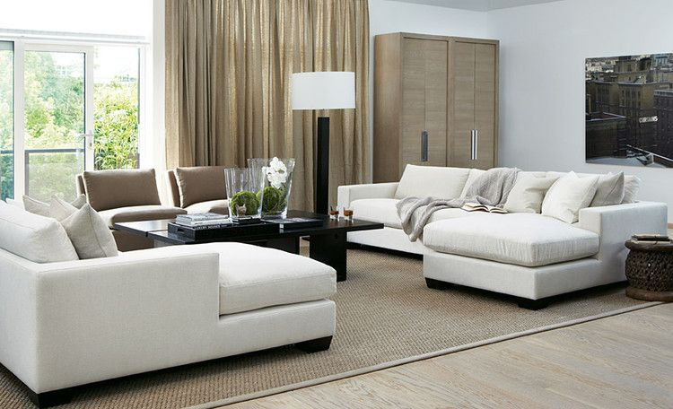 elegant contemporary living room with neutral palette - Slettvoll