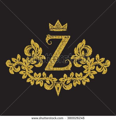 Golden Glittering Letter Z Monogram In Vintage Style Heraldic Coat Of Arms With Halftone Effect Baroque Logo Template In 2021 Halftone Letter Z Coat Of Arms