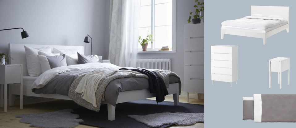 nordli bett mit nachttisch und sveio kommode alles weiss. Black Bedroom Furniture Sets. Home Design Ideas