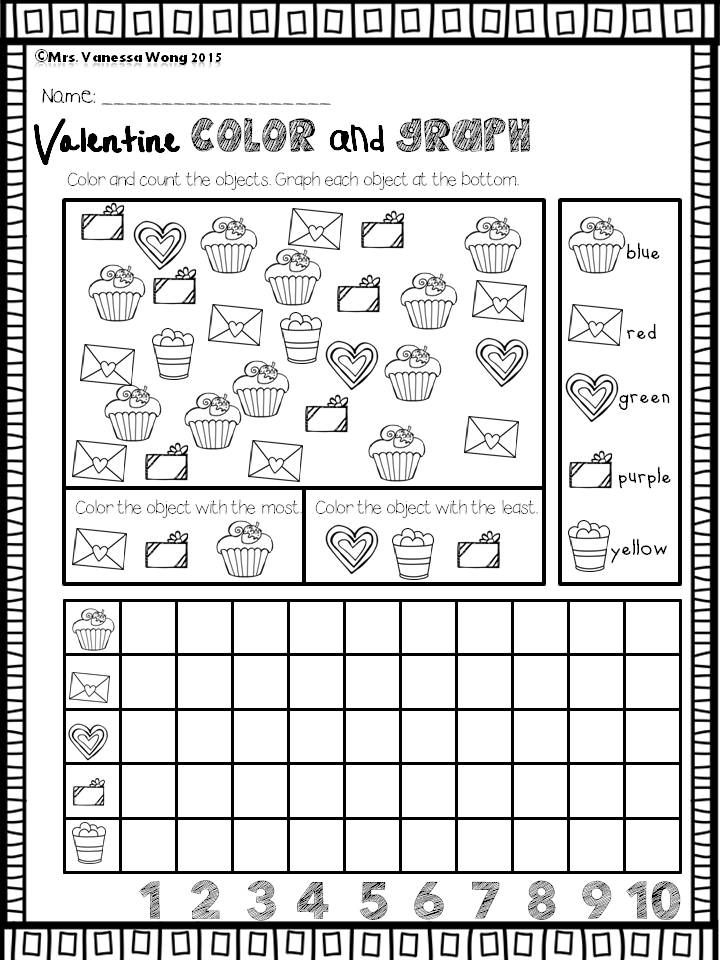 Valentine S Day Activities For Kindergarten Math And Literacy No Prep Printables Valentine Worksheets Graphing Kindergarten February Math