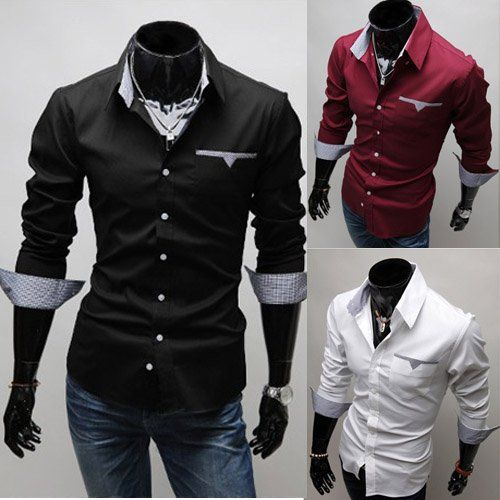Fashion Hit Color Splicing Pocket Design Shirt Collar Half Sleeve ...