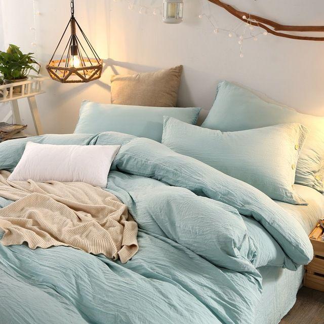 3/4 PCS Solid Soft Bedlinen Washed Cotton Naked Bedding Sets Twin ...