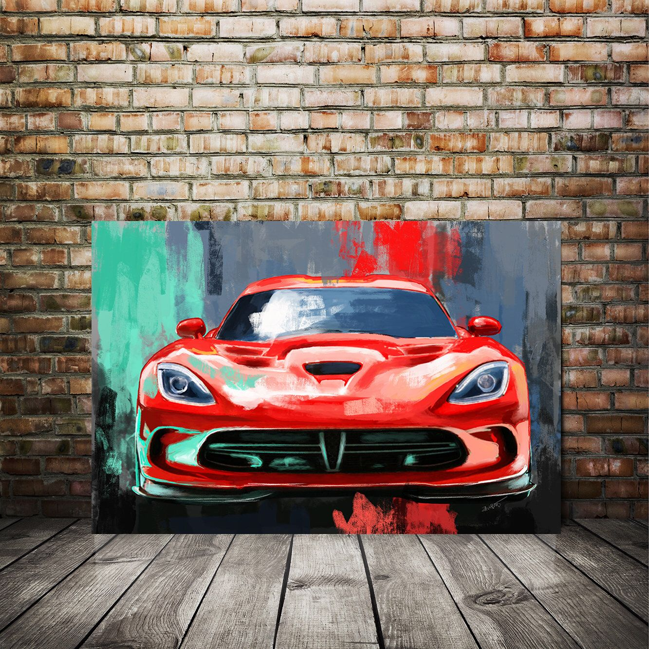 Auto Art Red Viper Srt Canvas Painting Sports Car Dodge Etsy In 2021 Car Painting Car Art Classic Sports Cars