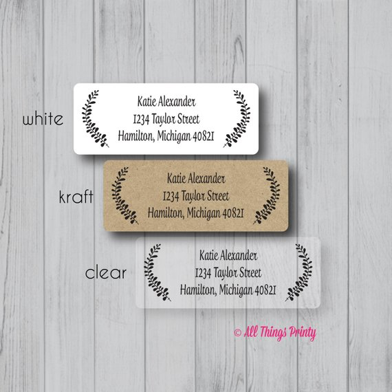 custom laurels return address labels personalized wreath fancy
