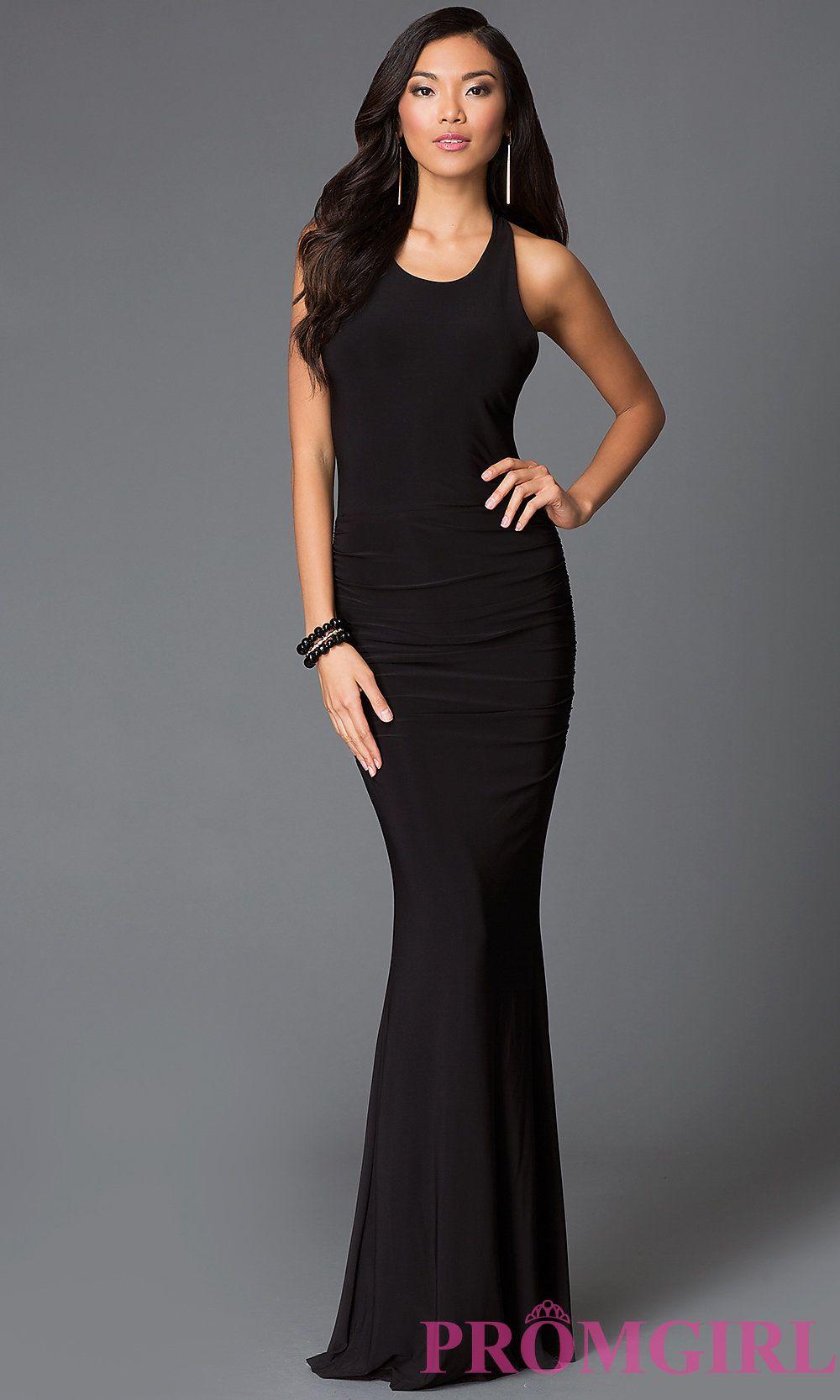 Floor length black sleeveless prom dress banquet pinterest