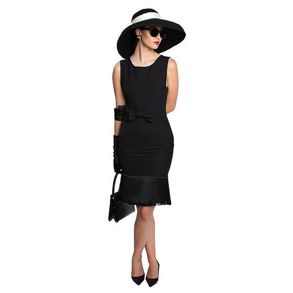 51f61f3c5d3 Audrey Hepburn-the Breakfast At Tiffany s Oversized Wool Hat Black Tassel  Dress Complete Costume Set