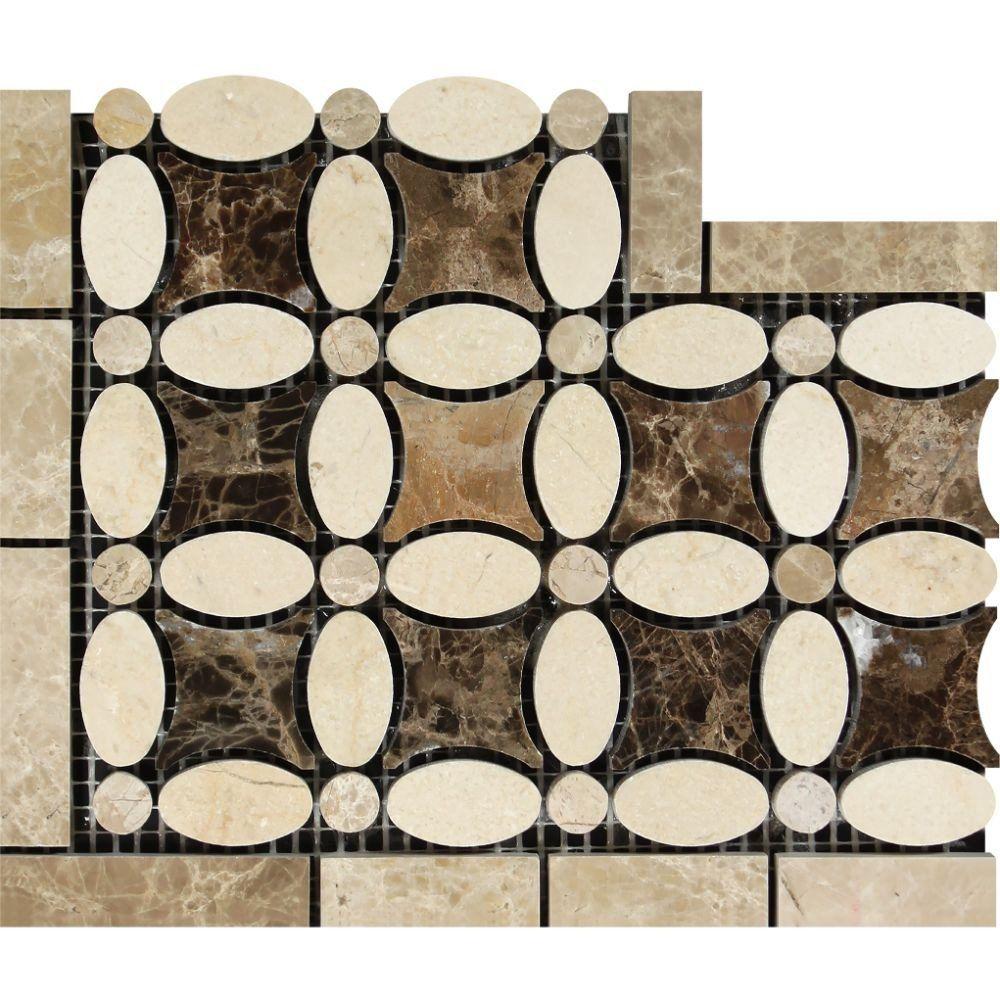 Tilephile Marble Polishing Flower Border Octagon Mosaic Tile
