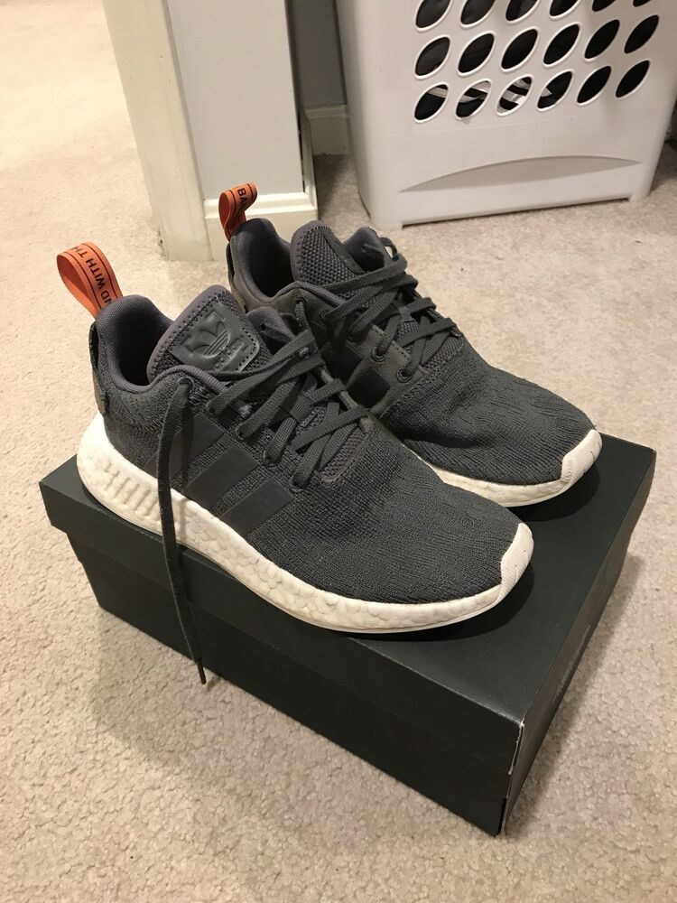 Adidas Nmd R2 Boost Running Shoes Grey Orange White Primeknit
