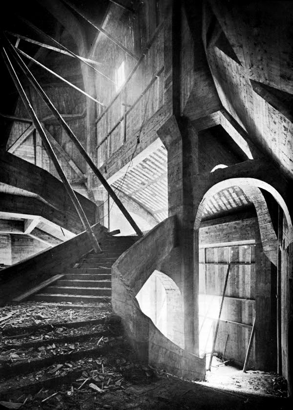 Rudolf Steiner's second Geotheanum, completed in 1928, is the largest building in the German expressionist architectural movement. The revolutionary use of poured concrete inspired later Modernist architects.