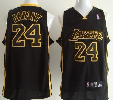 Los Angeles Lakers 24 Kobe Bryant All Black With Yellow Authentic Jersey Kobe Bryant Los Angeles Lakers Jersey