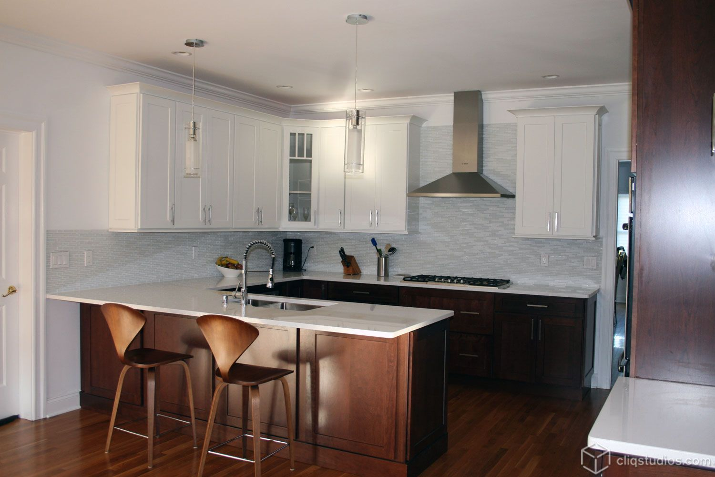 Dayton Cherry Russet and Dayton Painted White Mission Kitchen ...