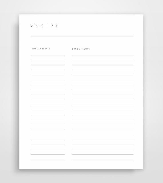 Recipe Pages, Recipe Binder Pages, Printable Recipes