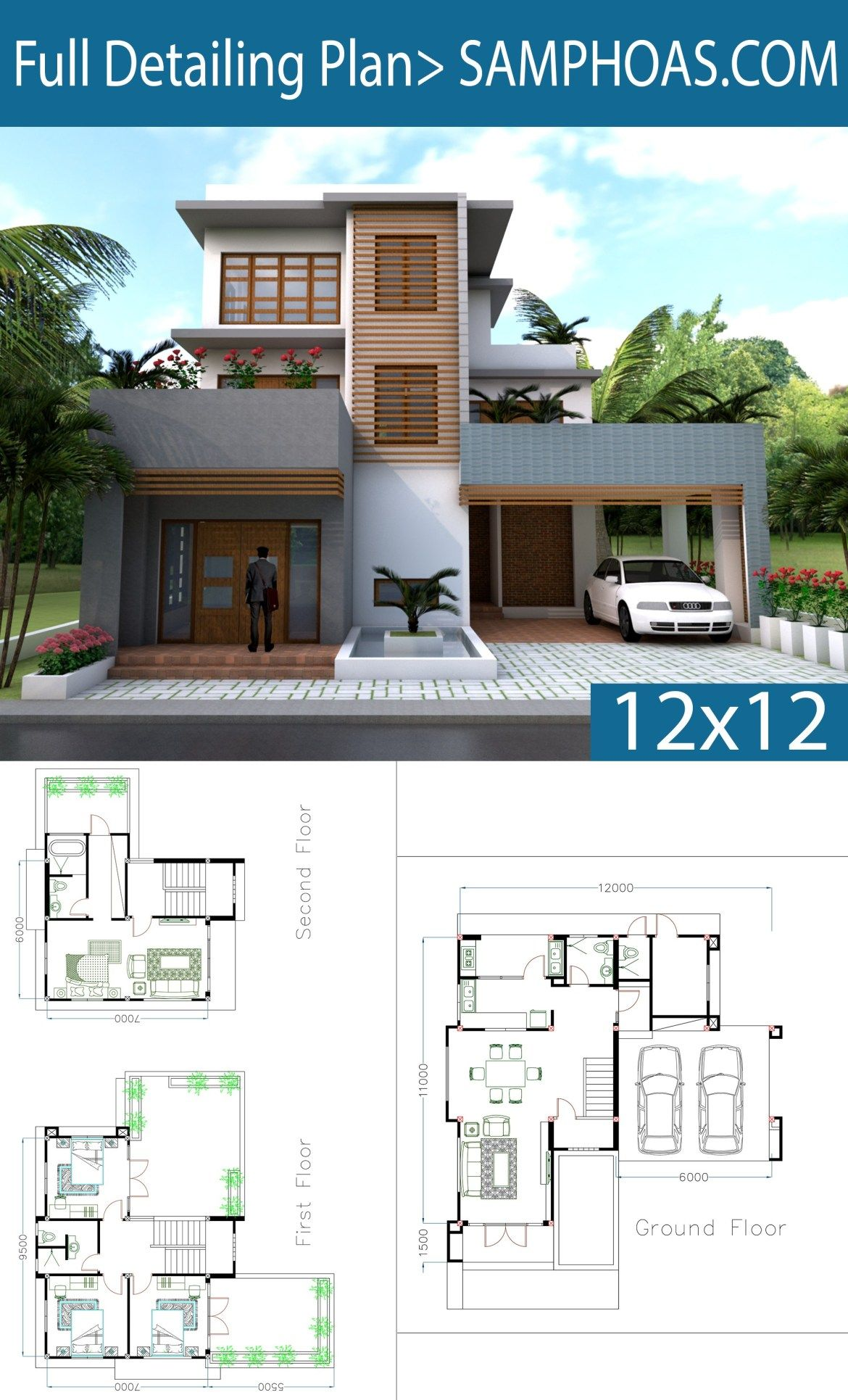 Sketchup Modern 4 Bedrooms Home Plan 11x12m Samphoas Plansearch House Plans House Plans Mansion Contemporary House Plans
