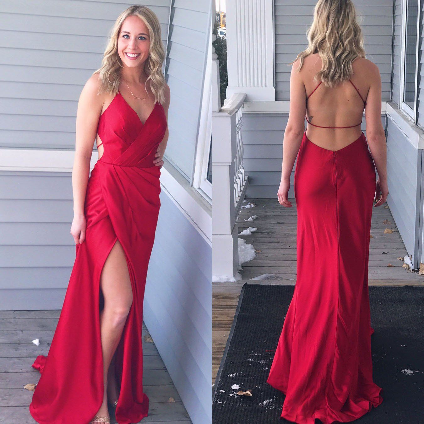 Simply gorgeous red long prom dress with side slit