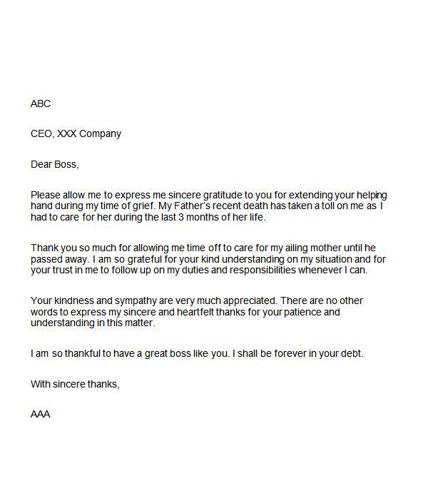sample appreciation letter boss for support Home Design Idea - thank you letter to employer