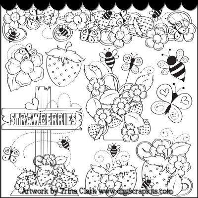 Bugs Berries 1 BW Clip Art клипарт Art Doodle art