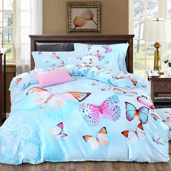 Colorful Butterflies Design Blue 4 Piece Cotton Duvet Cover Sets Bedding Sets Duvet Bedding Sets Bed Decor