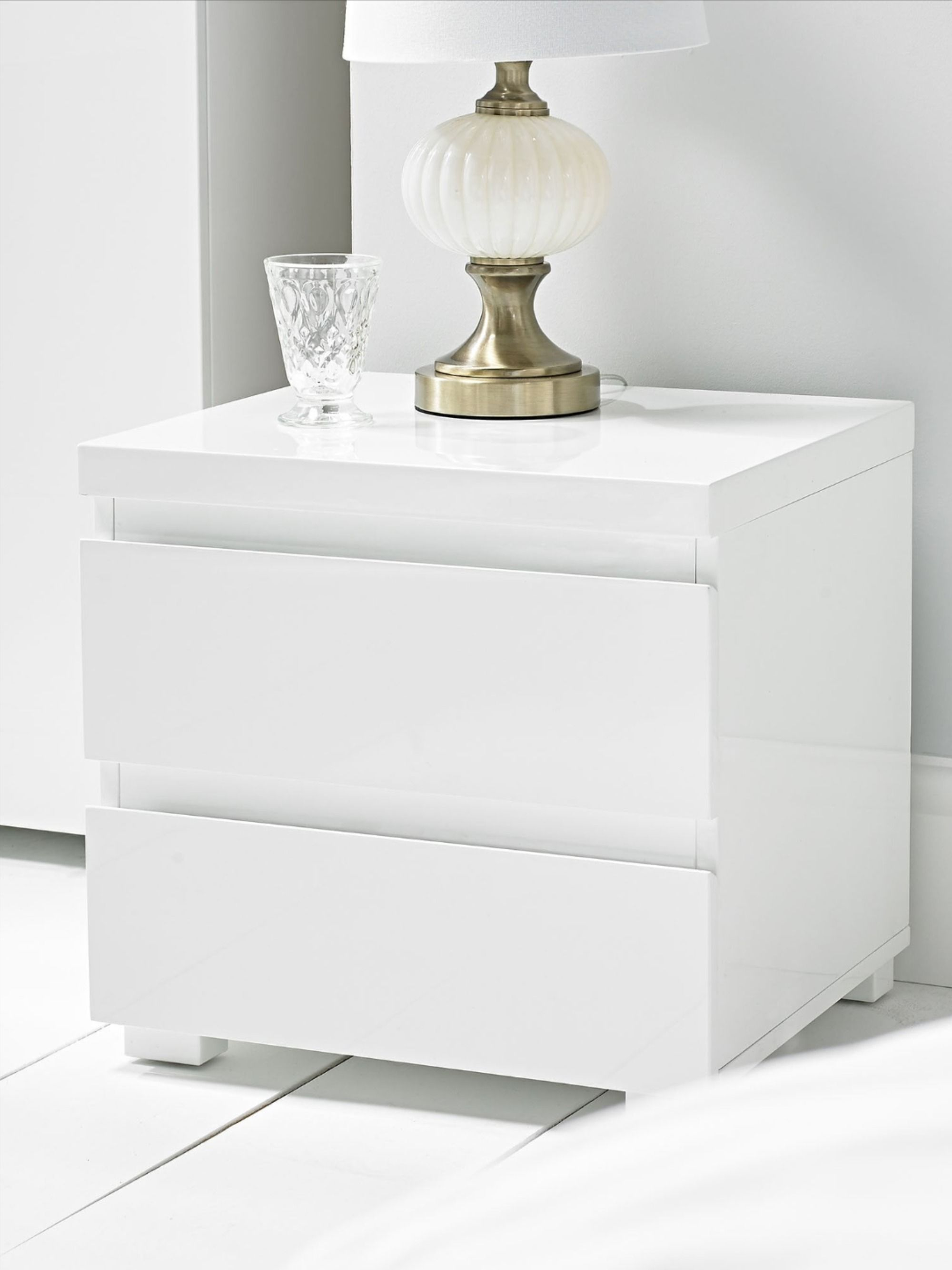 Puro 2 Drawer Bedside Cabinet White White Gloss Bedroom Furniture White Gloss Bedroom White Gloss Bedside Table
