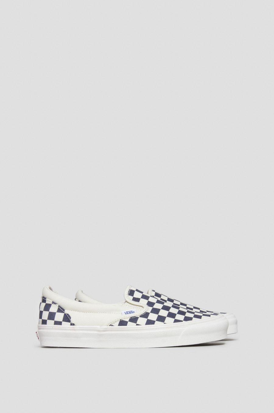 vans vault og classic slip on checkerboard white navy