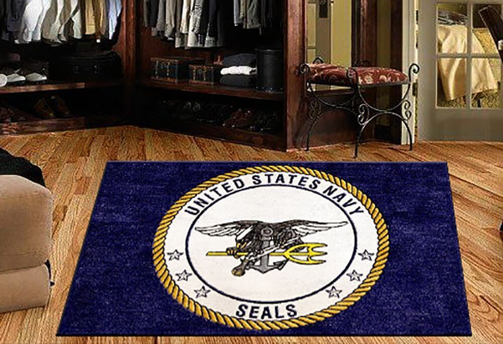 us navy seal logo rug in various sizes custom logo rug sizes available rug rats is a trusted name in us navy seal mats