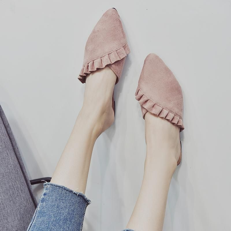 New 2019 Pointed Toe Women Mules Suede