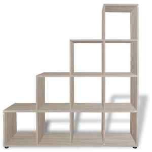 Staircase Bookcase Bookshelf Display Storage Box Unit Cubes White/Oak 2  Sizes