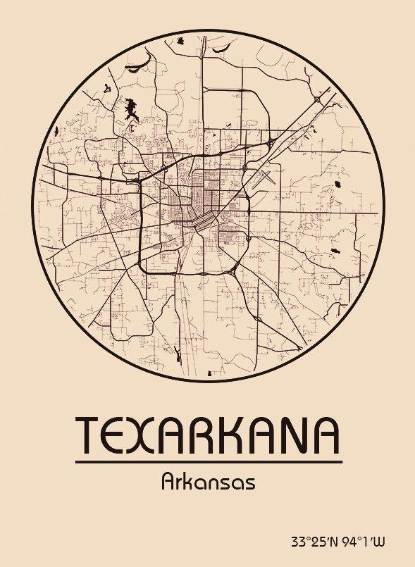 Karte / Map ~ Texarkana, Arkansas - Vereinigte Staaten von ...